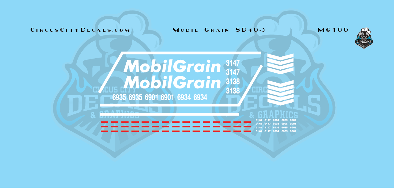 Mobil Grain SD40-3 N Scale Decal Set