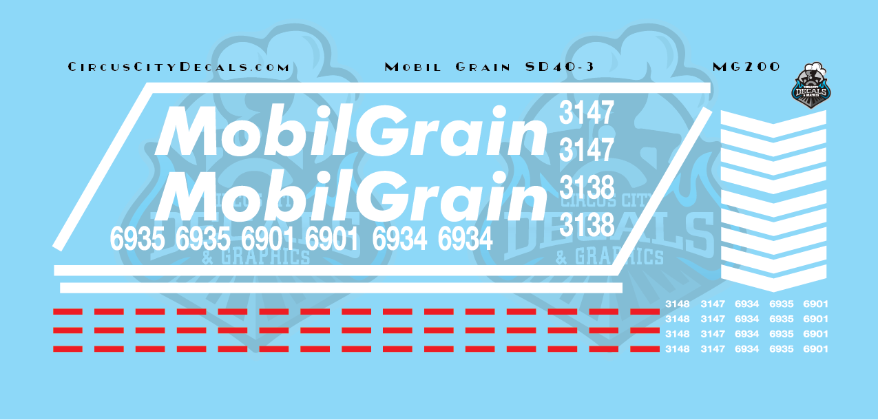 Mobil Grain SD40-3 HO Scale Decal Set