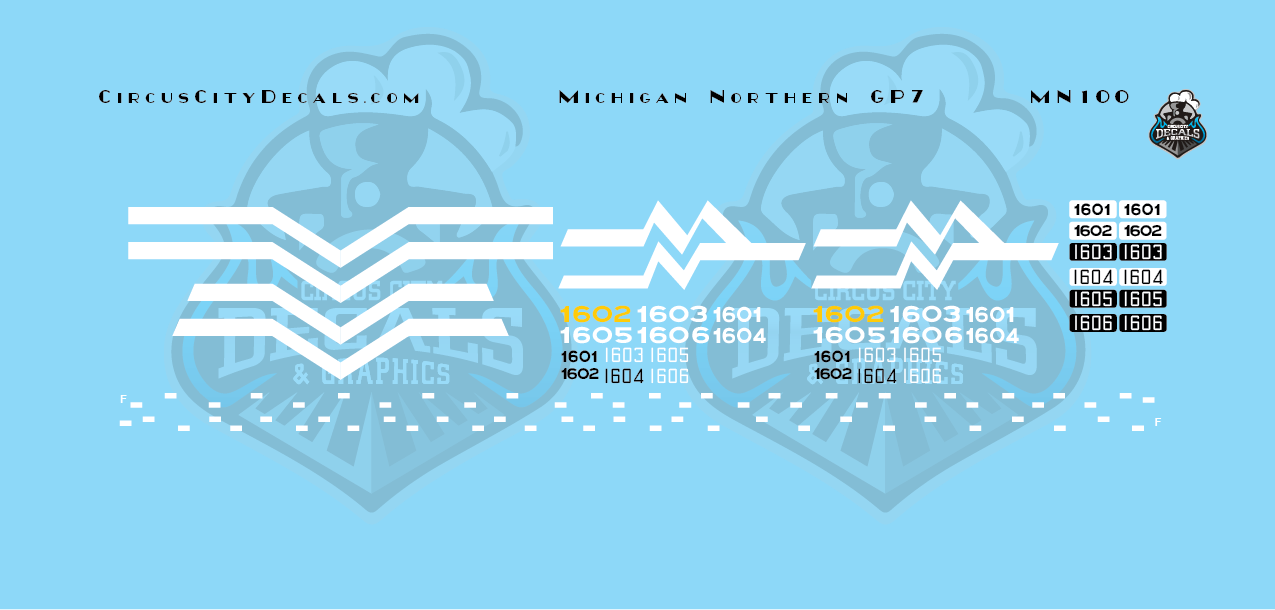 Michigan Northern GP7 Decal Set N Scale