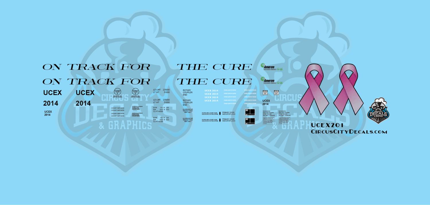 UCEX Ameren On Track for the Cure Hopper #2014 Breast Cancer HO Scale Decal