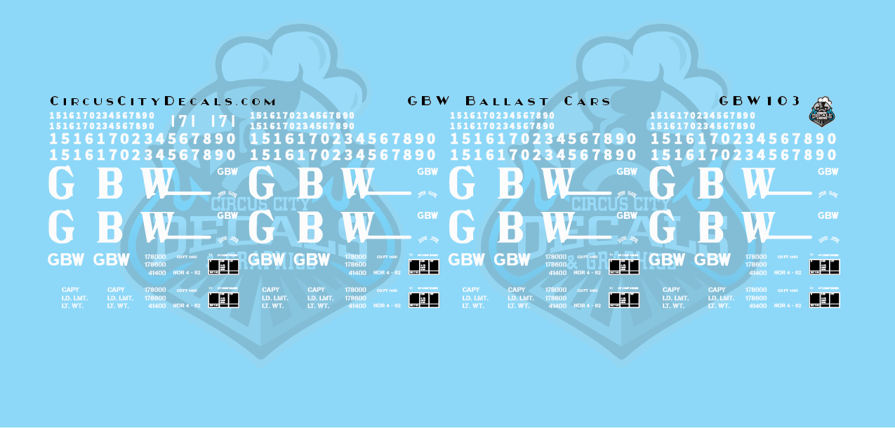 Green Bay & Western Ballast Car Decals N Scale