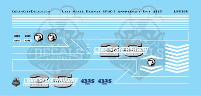Lake State Railway GP40-3 4325 Anniversary Locomotive Decals HO Scale