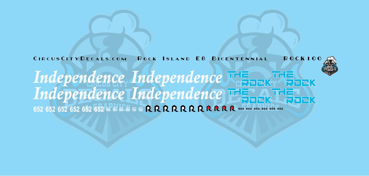 Rock Island Bicentennial E8 652 N Scale Decal Set