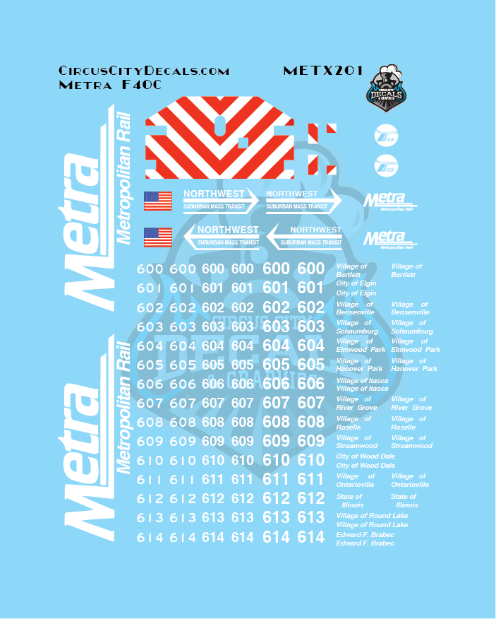 Metra METX F40C HO Scale Decal Set