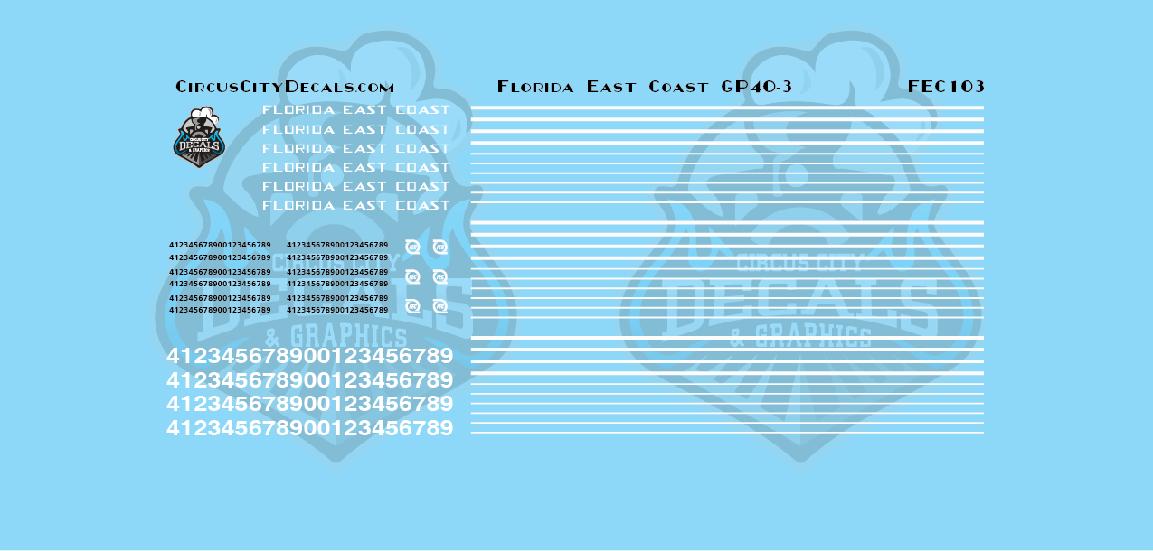 Florida East Coast FEC GP40-3 N Scale Decal Set