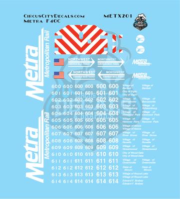 Metra METX F40C N Scale Decal Set