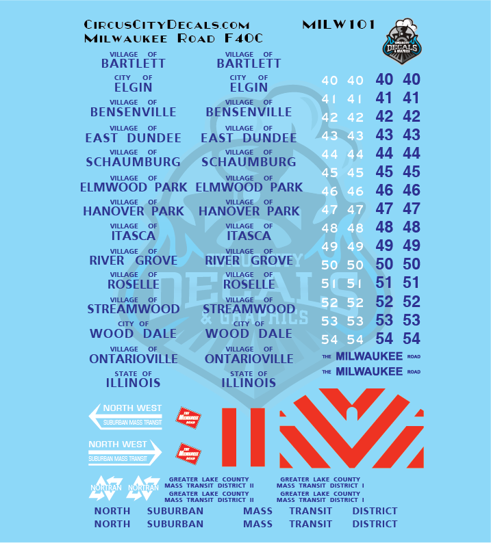 Milwaukee Road F40C MILW N Scale Decal Set