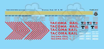 Tacoma Rail GP & SD Locomotive HO Scale Decal Set