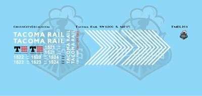 Tacoma Rail SW1200 & MP15 Locomotive HO Scale Decal Set