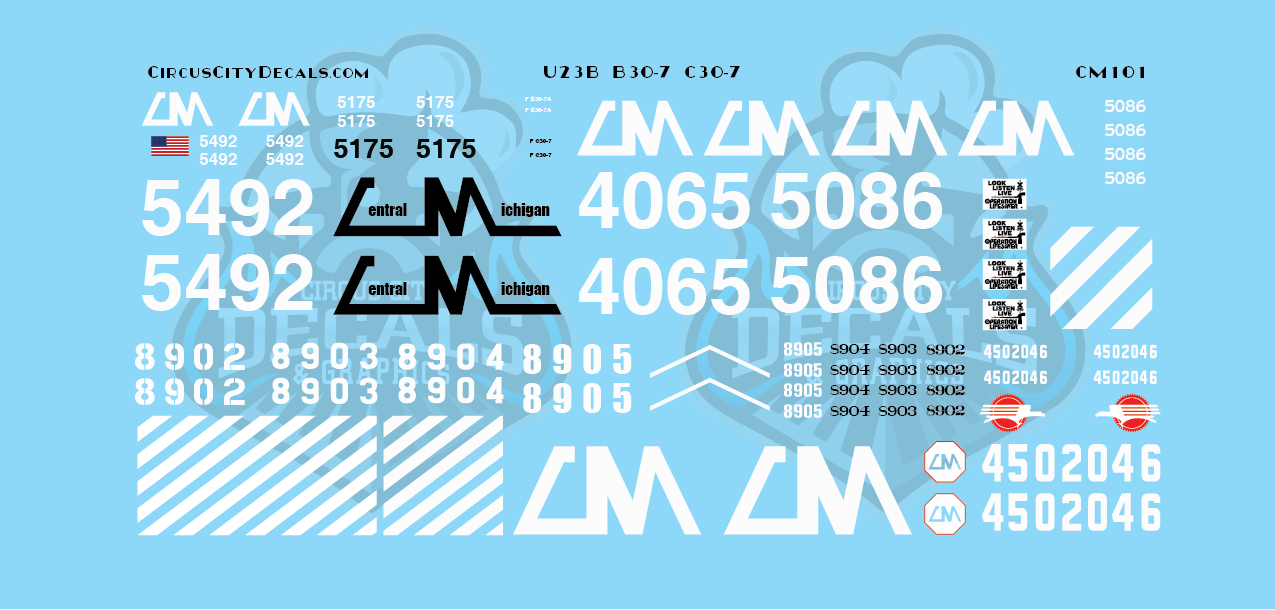 Central Michigan U23B B30-7 C30-7 CMGN N Scale Decals