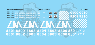Central Michigan GP8 GP38 GP40-2LW CMGN N Scale Decals