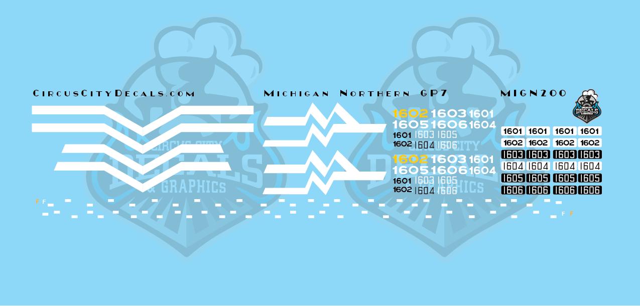 Michigan Northern GP7 Decal Set HO Scale