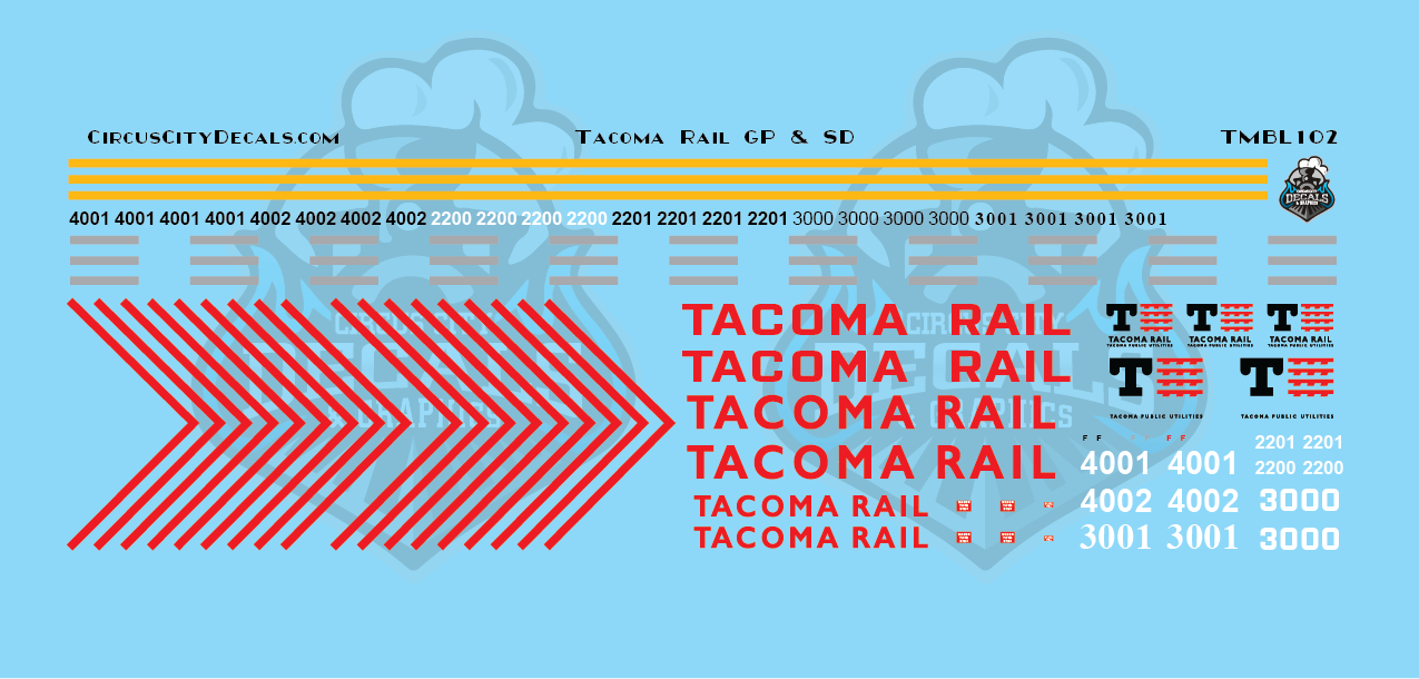 Tacoma Rail GP & SD Locomotive N Scale Decal Set