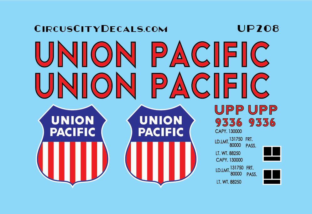 Union Pacific Tool Car Decals UP UPRR Heritage Fleet 9336 N scale