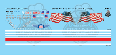 UP 1943 Spirit of the Union Pacific SD70AH SD70ACE HO Scale Decal Set
