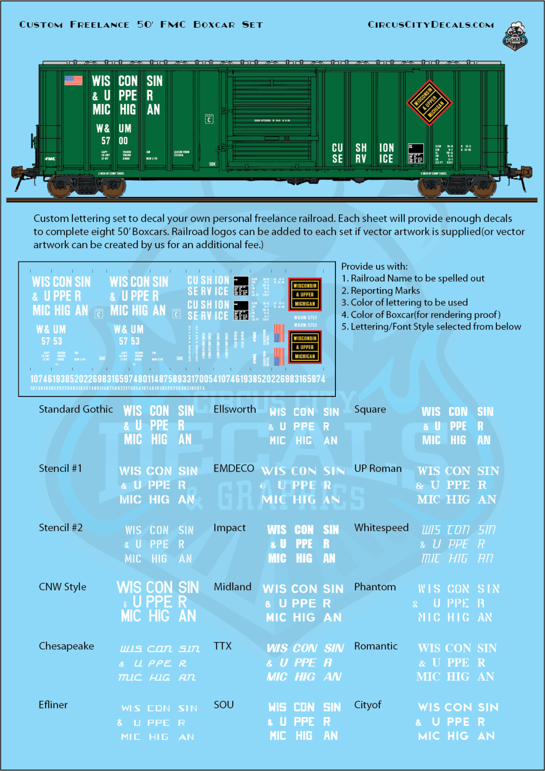Freelance Railroad Custom 50' Boxcar N Scale Decal Set