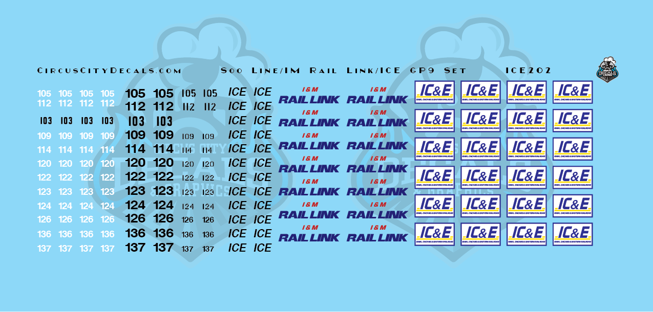 Iowa, Chicago, Eastern ICE IM Rail Link Soo Line GP9 Patch Set HO Scale