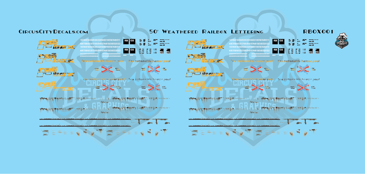 Railbox RBOX Weathered Lettering 50' Boxcar Z Scale Decal Set
