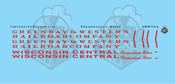 Green Bay & Western Wisconsin Central Trempealeau River 901 GBW WC Business Car Decals S Scale