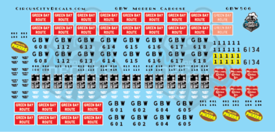 Green Bay & Western Modern Caboose Decals S Scale