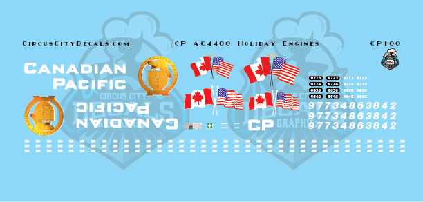 Canadian Pacific CP AC4400 Holiday Engine Decal Set N Scale​ 9773 9774 8638 8642​