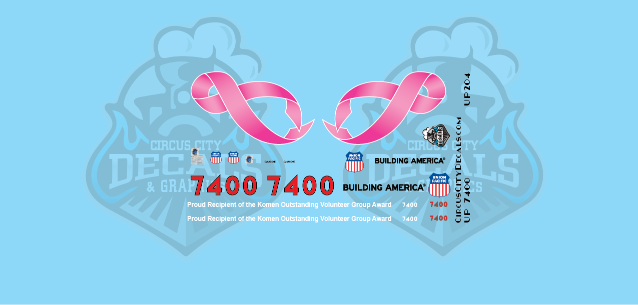Union Pacific Breast Cancer Unit 7400 HO Scale Decals UP UPRR