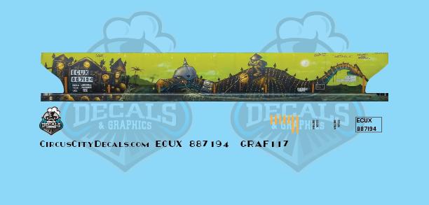 ECUX 887194 Exxon Mobil Corporation 4-Bay Covered Hopper Graffifi N Scale