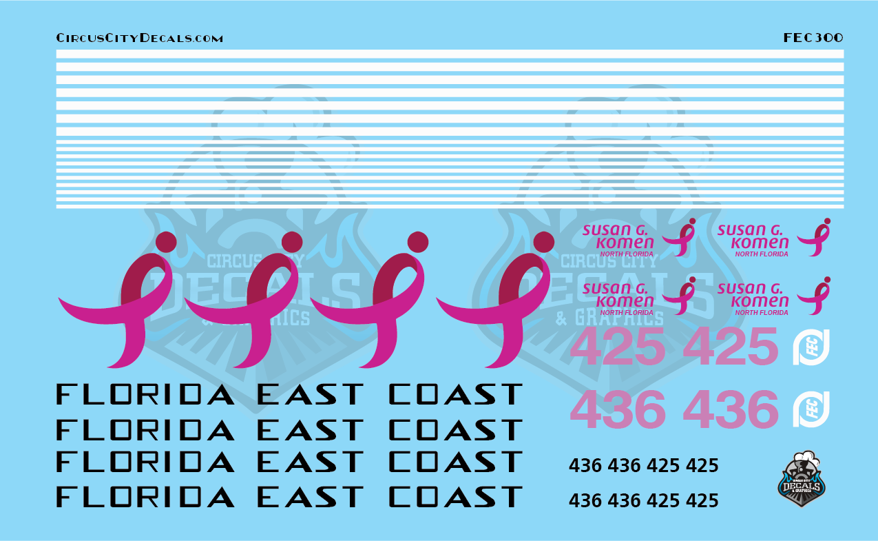 Florida East Coast 425 436 Breast Cancer Units O Scale