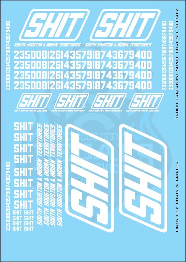 South Houston & Indian Territories SHIT Railroad Freight Car Decal Set G Scale
