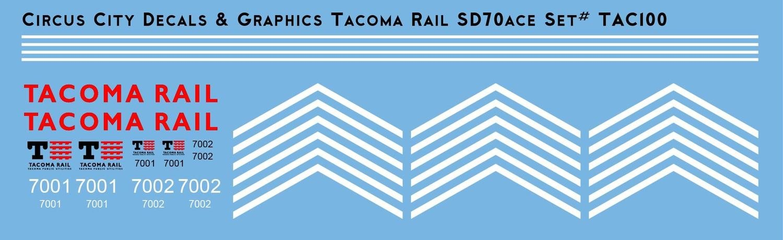 Tacoma Rail SD70ace Locomotive N Scale Decal Set