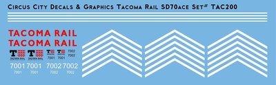 Tacoma Rail SD70ace Locomotive HO Scale Decal Set