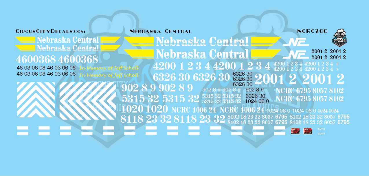 Nebraska Central Railroad Locomotives NCRC GP38-3 SD38-2 GP38-2 GP40 GP9R SD40-2