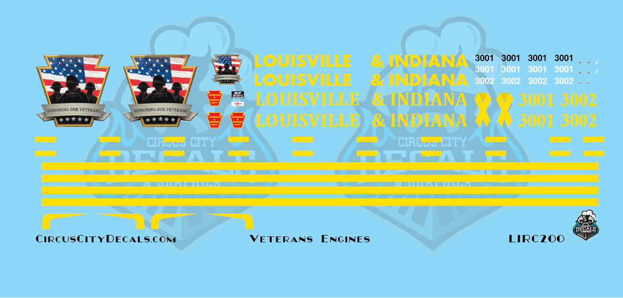 Louisville & Indiana Railroad Veterans Engines LIRC SD40-2 SD45 HO Scale