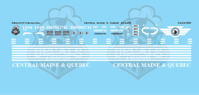 Central Maine & Quebec AC4400 Decal Set HO Scale