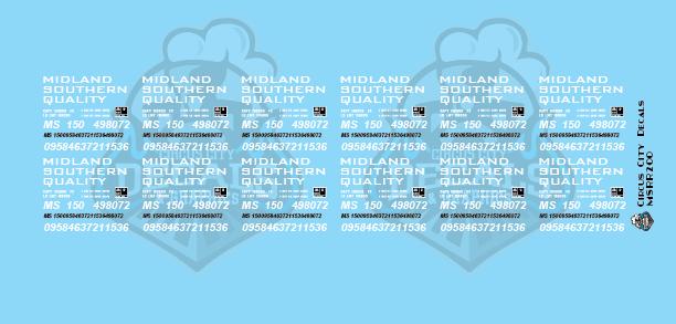 Midland Southern Autorack Decal Set HO Scale