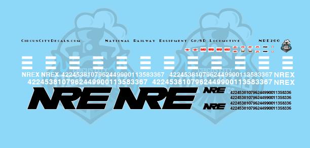 NRE National Railway Equipment GP/SD Locomotive Decal Set HO Scale