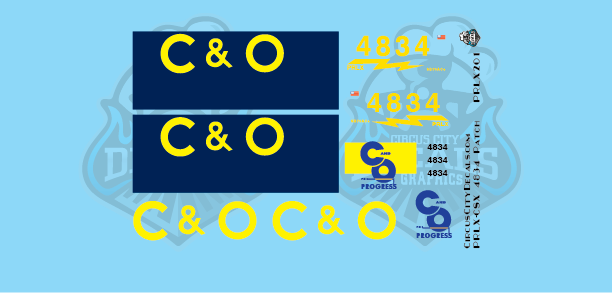 PRLX SD70ace CSX/C&O 4834 Patch N scale Decal Set