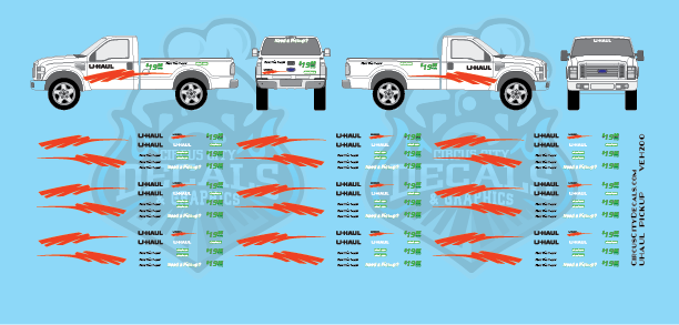 UHaul RPS Pickup Truck Decal Set HO Scale