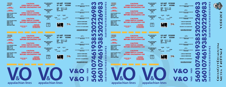 Virginian and Ohio Railroad Covered Hopper Set HO scale