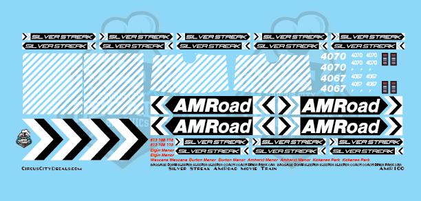 AMRoad Silver Streak Movie Train Decals Black N Scale