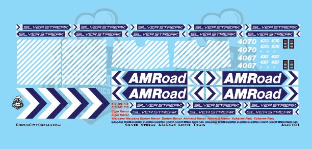 AMRoad Silver Streak Movie Train Decals Navy Blue N Scale