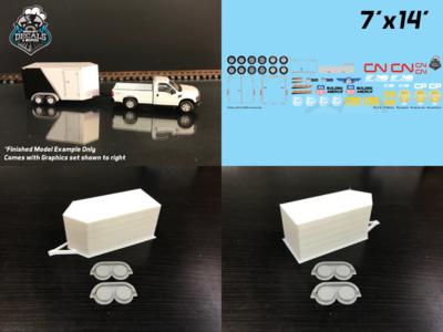 Modern Enclosed Trailer KIT 7x14 V-Nose Railroad Graphics HO Scale
