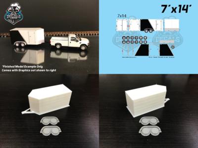 Modern Enclosed Trailer KIT 7x14 V-Nose Black Graphics HO Scale