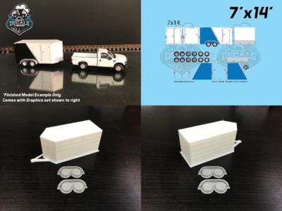 Modern Enclosed Trailer KIT 7x14 V-Nose Blue Graphics HO Scale