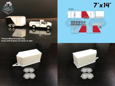 Modern Enclosed Trailer KIT 7x14 V-Nose Red Graphics HO Scale