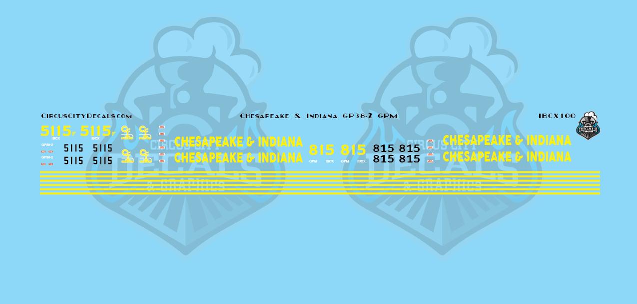 Chesapeake & Indiana Railroad GP38-2 5115 GPM 815 N Scale