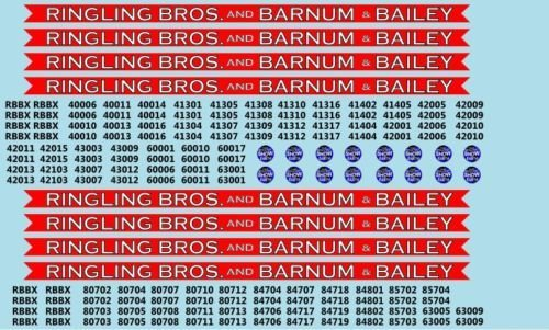 RB201 Ringling Bros. & Barnum Bailey Blue Unit RBBB Modern Circus Train Decals HO Scale