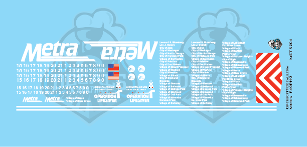 Metra METX F40PH-2 O Scale Decal Set