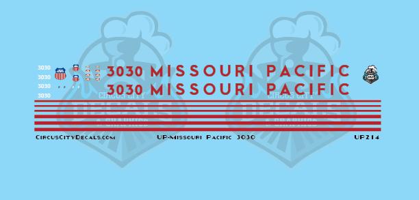 Union Pacific Missouri Pacific SD40 3030 Experimental Scheme HO Scale Decal Set