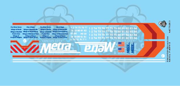 Metra METX F40PH-2 O Scale Decal Set